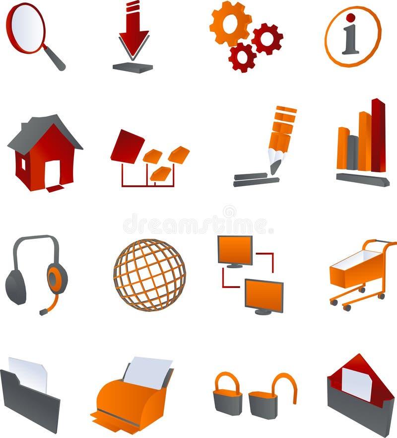 Icone grige rosse del Internet di Web illustrazione vettoriale