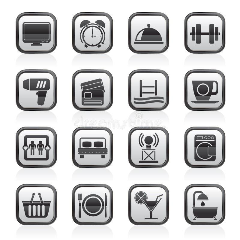 Icone hotel e delle facilità in bianco e nero del motel royalty illustrazione gratis