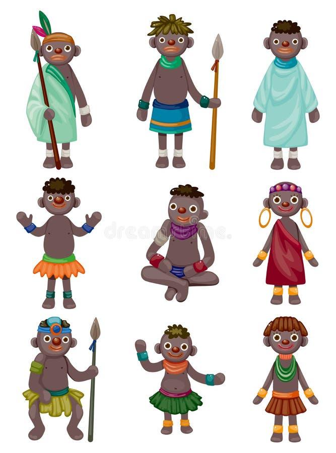 Icone indigene dell'Africa del fumetto illustrazione vettoriale