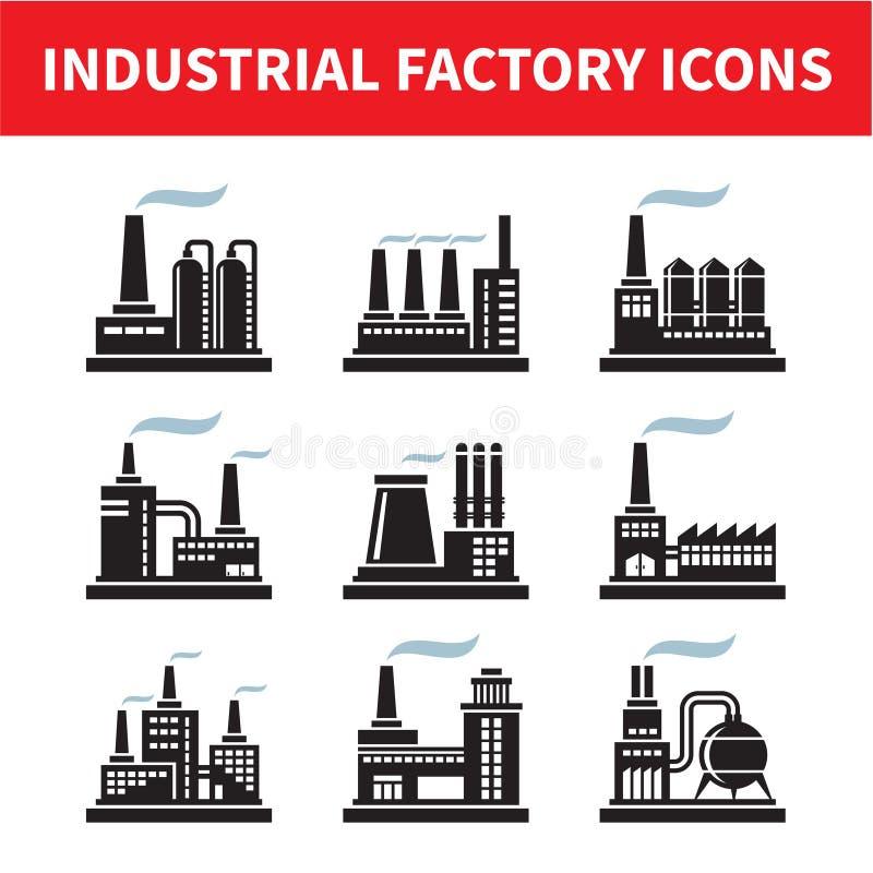 Icone industriali della fabbrica illustrazione di stock