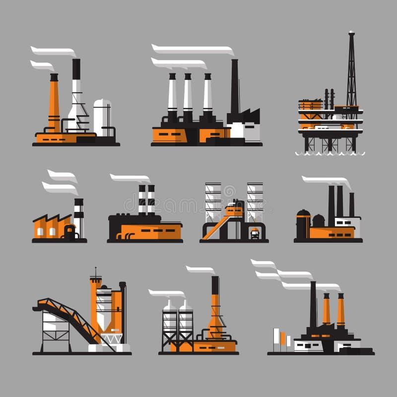 Icone industriali della fabbrica su fondo grigio illustrazione vettoriale
