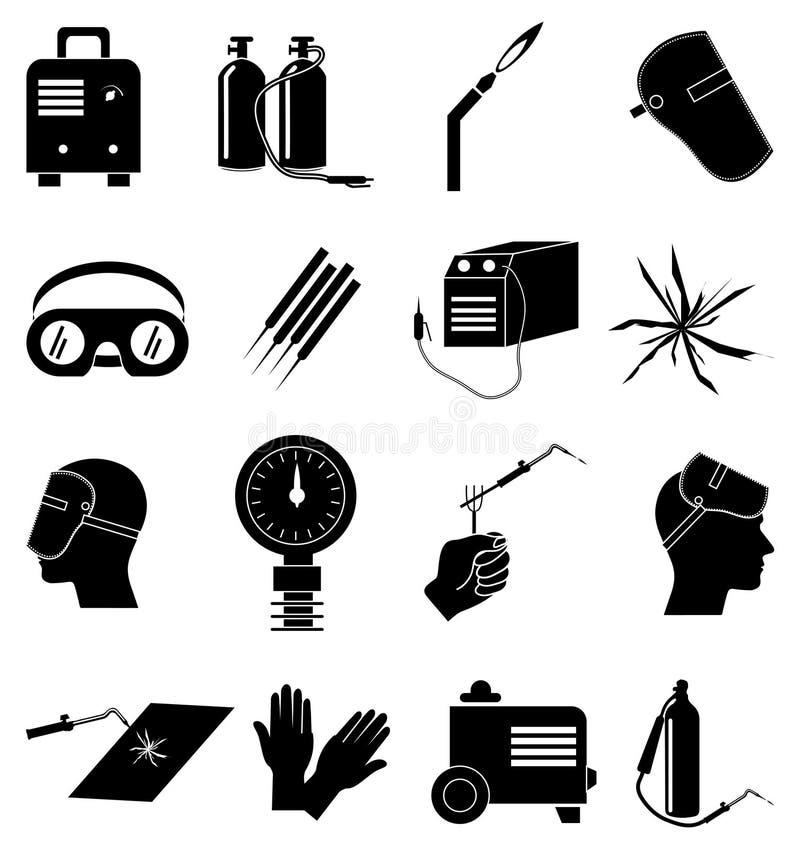 Icone industriali di saldatura del lavoro messe royalty illustrazione gratis