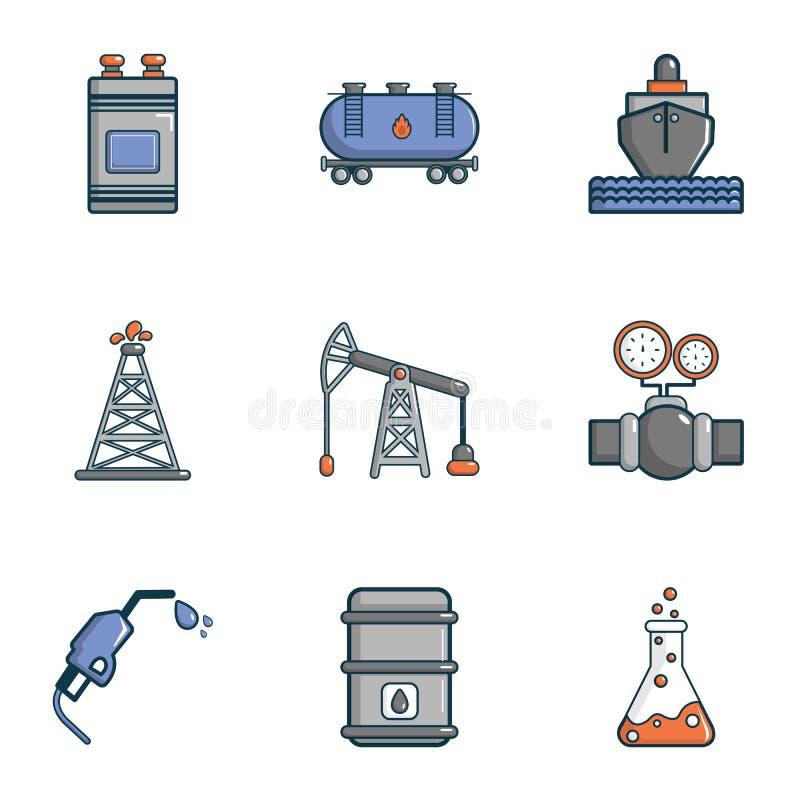Icone industriali messe, stile della fabbrica del fumetto illustrazione vettoriale