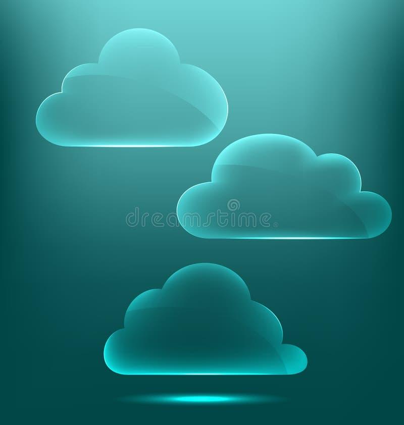 Icone infographic vetrose delle nuvole su ciano illustrazione di stock