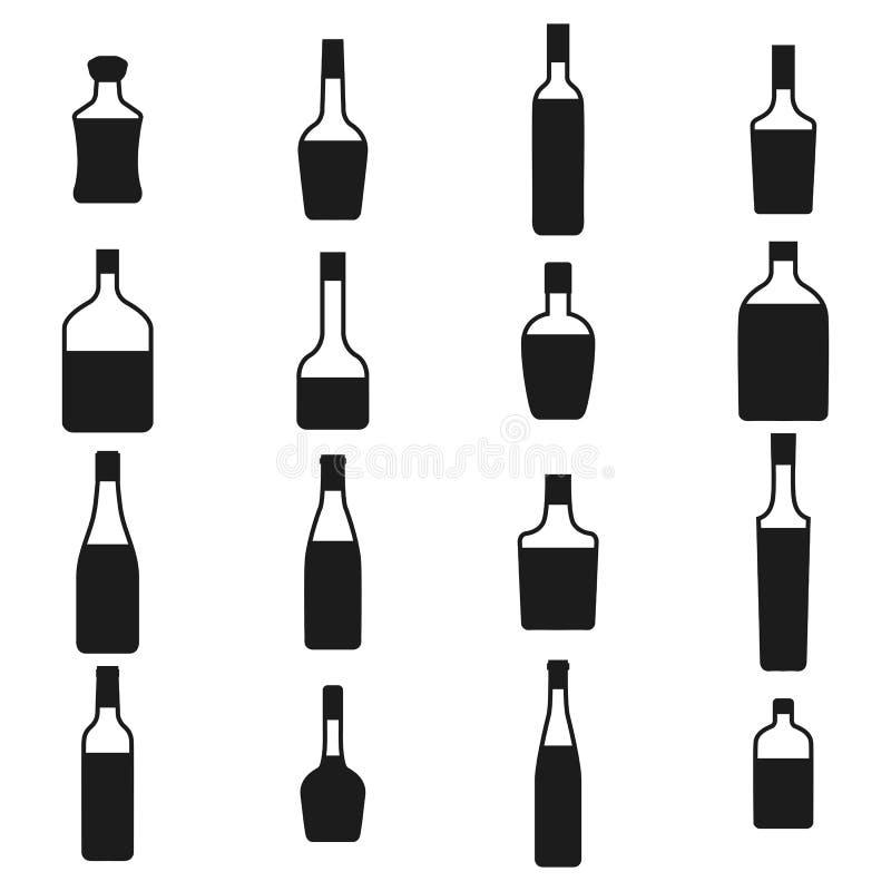 Icone insieme, illustrazione delle bottiglie dell'alcool di vettore illustrazione vettoriale