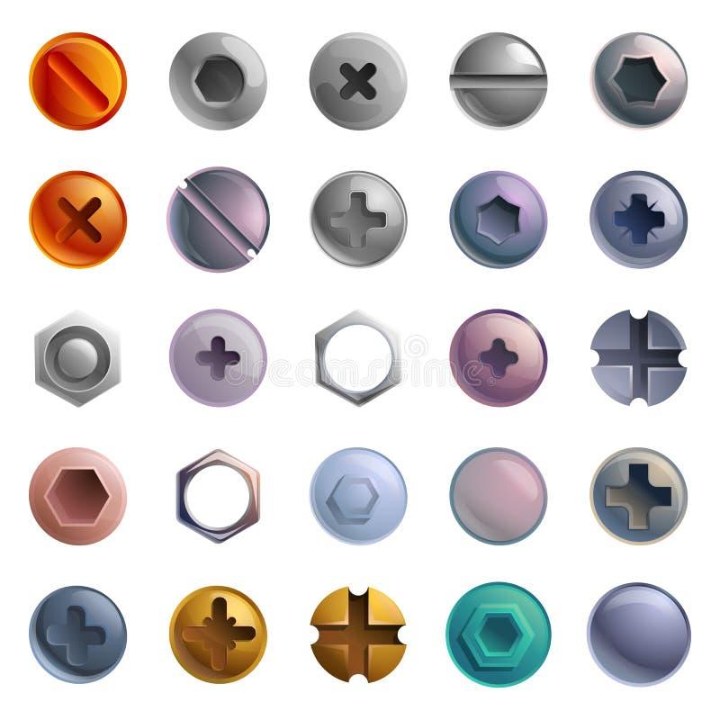 icone insieme, stile di Vite-Bolt del fumetto illustrazione di stock
