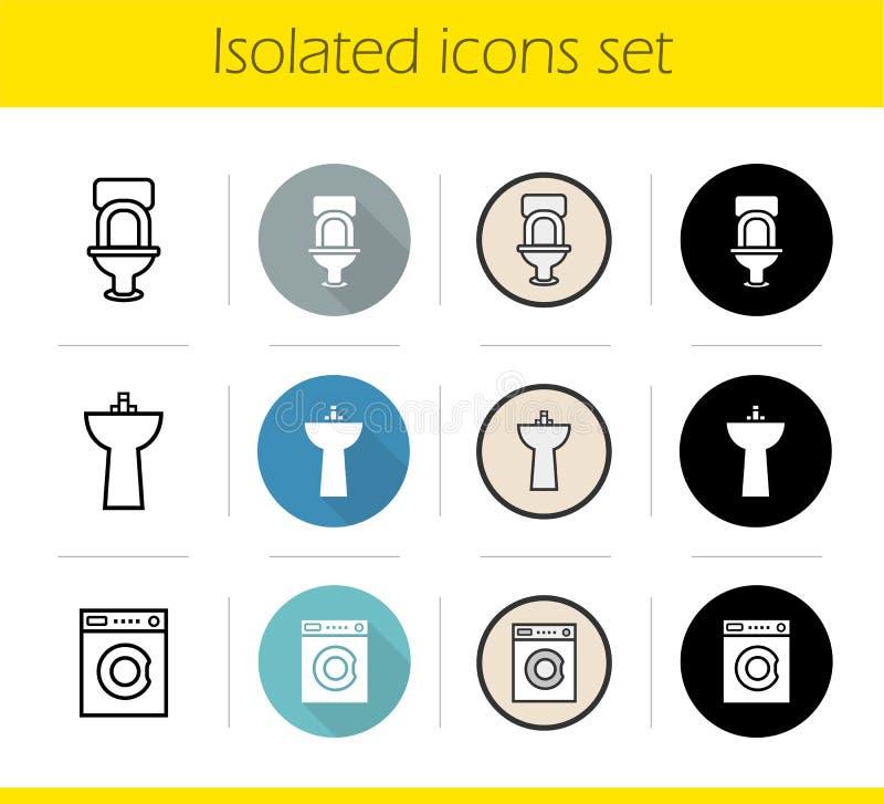 Icone interne del bagno messe royalty illustrazione gratis