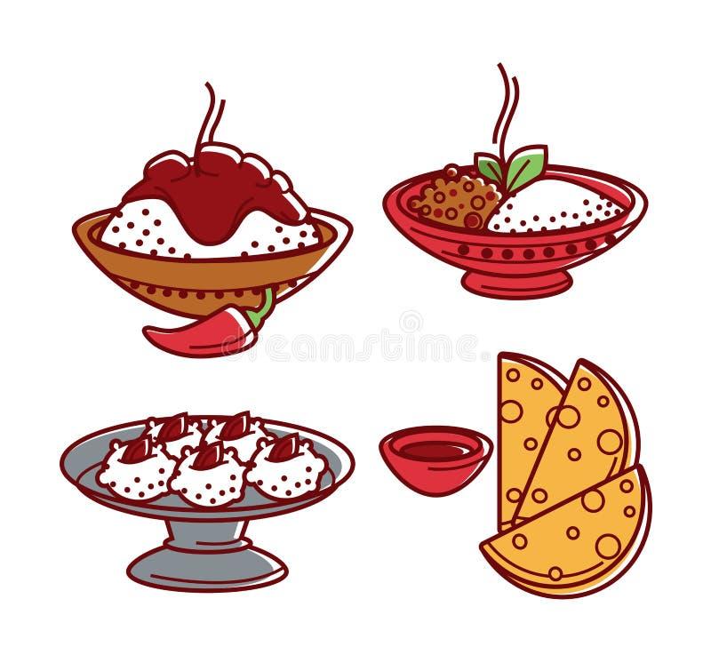 Icone isolate piano tradizionale indiano di vettore dei piatti dell'alimento di cucina messe illustrazione di stock