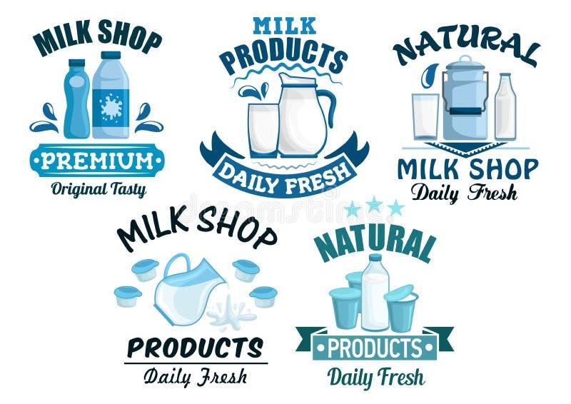 Icone isolate vettore dei prodotti lattier-caseario e del latte illustrazione di stock