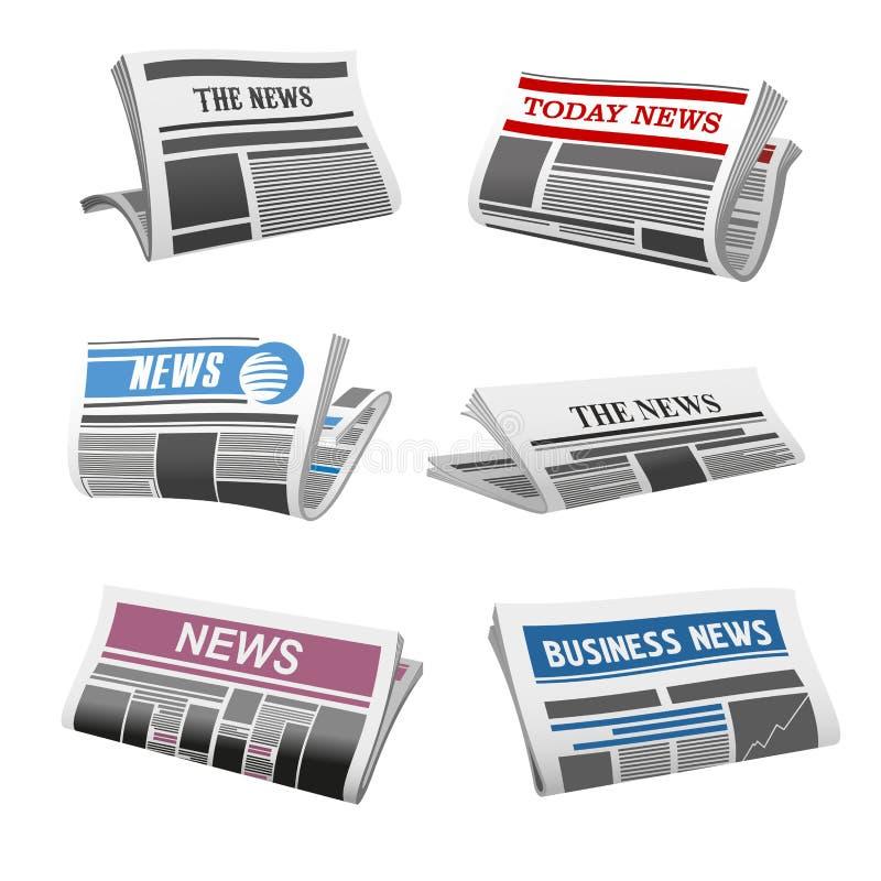 Icone isolate vettore quotidiano di notizie del giornale illustrazione vettoriale