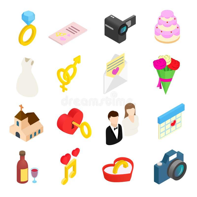 Icone isometriche 3d di nozze messe royalty illustrazione gratis