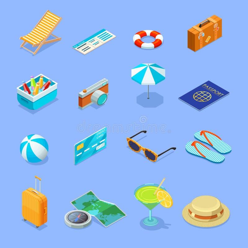 Icone isometriche degli accessori di viaggio messe illustrazione vettoriale