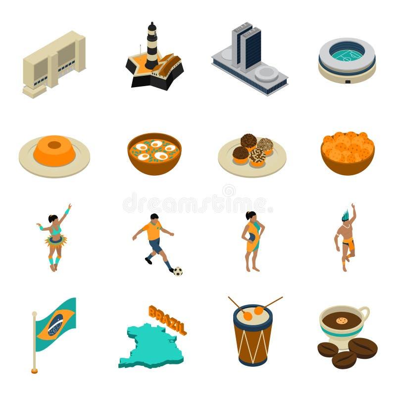 Icone isometriche del Brasile messe illustrazione di stock