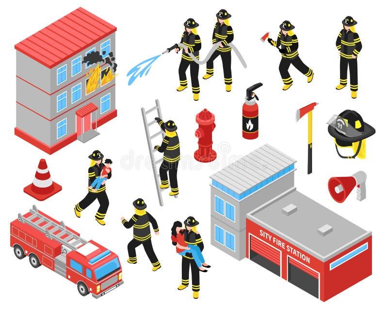 Icone isometriche del corpo dei vigili del fuoco messe illustrazione vettoriale