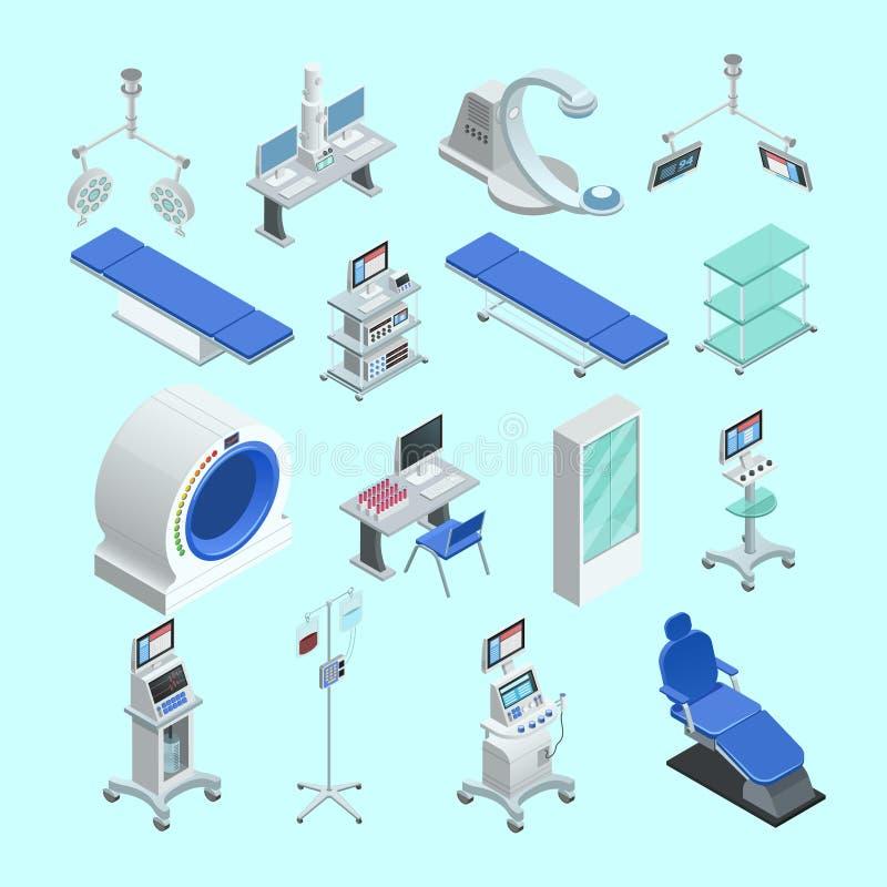 Icone isometriche dell'attrezzatura medica messe illustrazione di stock