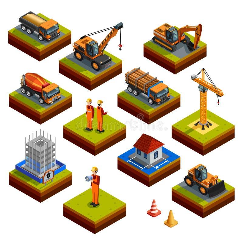 Icone isometriche della costruzione royalty illustrazione gratis