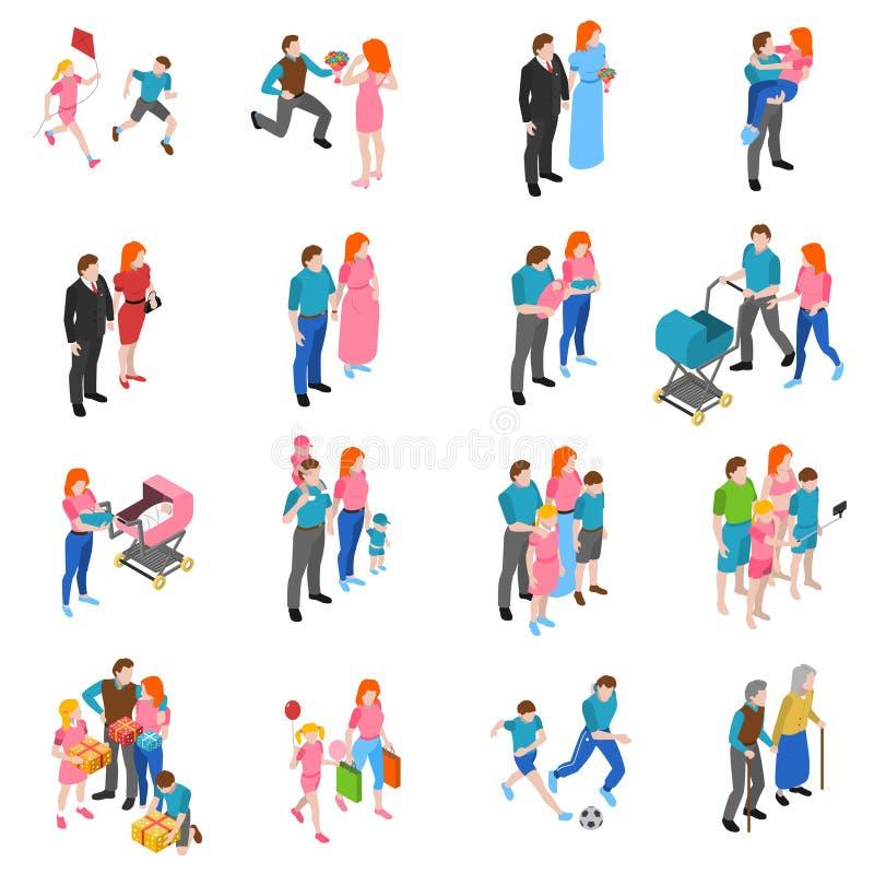 Icone isometriche della gente della famiglia messe royalty illustrazione gratis