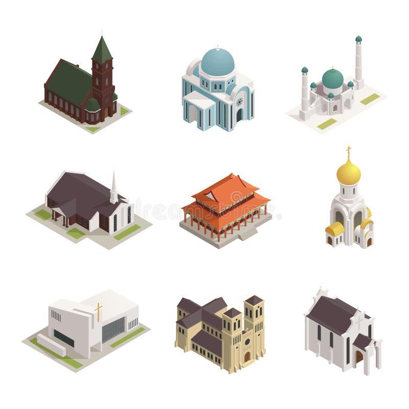 Icone isometriche della moschea della cattedrale della chiesa illustrazione vettoriale