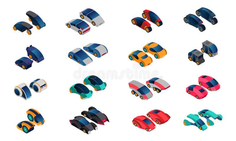 Icone isometriche delle automobili futuristiche messe illustrazione di stock