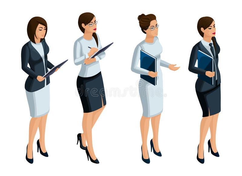 Icone isometriche delle emozioni della donna, 3D donna di affari, CEO, avvocato Espressione del fronte, trucco illustrazione di stock