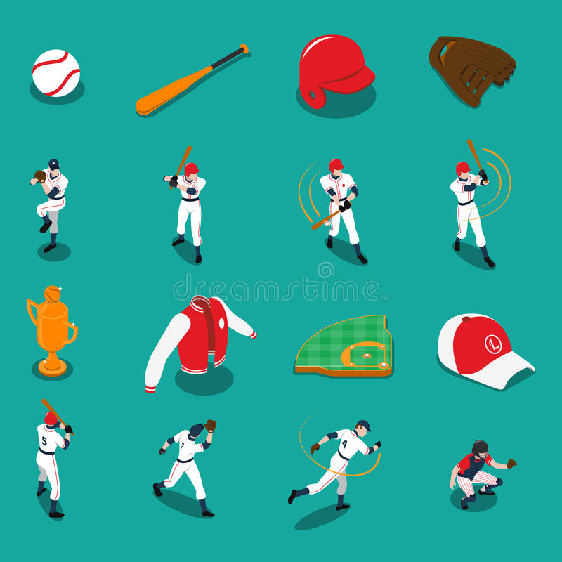 Icone isometriche di baseball messe illustrazione di stock