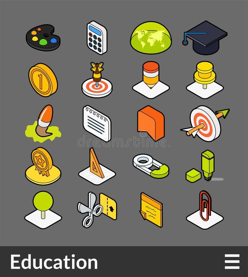 Icone isometriche di colore del profilo messe illustrazione vettoriale