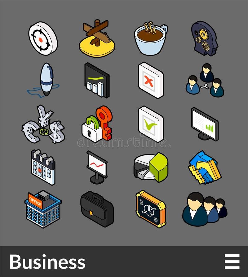 Icone isometriche di colore del profilo messe illustrazione di stock