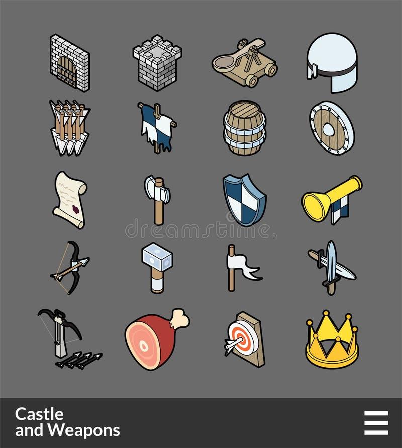 Icone isometriche di colore del profilo messe royalty illustrazione gratis