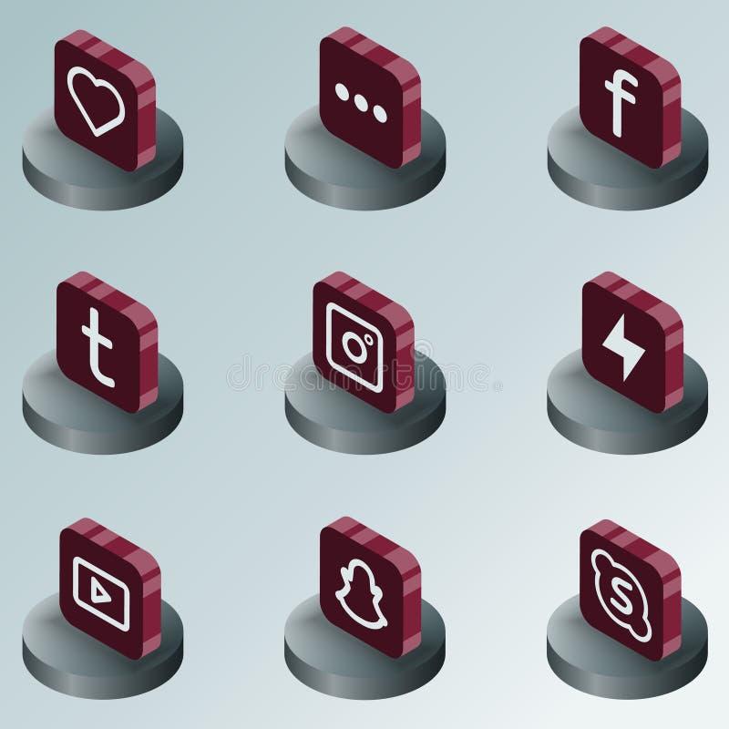 Icone isometriche di colore della rete sociale royalty illustrazione gratis