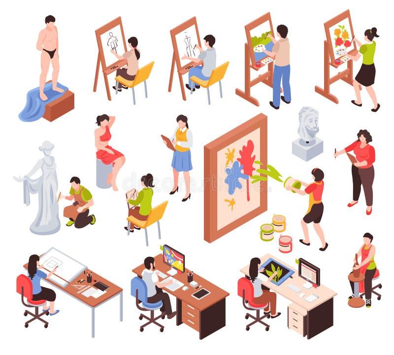 Icone isometriche di professione creativa messe royalty illustrazione gratis