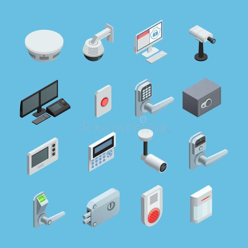 Icone isometriche di sicurezza domestica messe illustrazione di stock