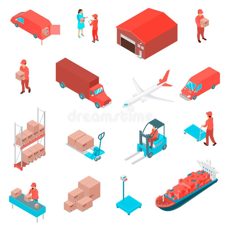 Icone isometriche logistiche messe illustrazione di stock