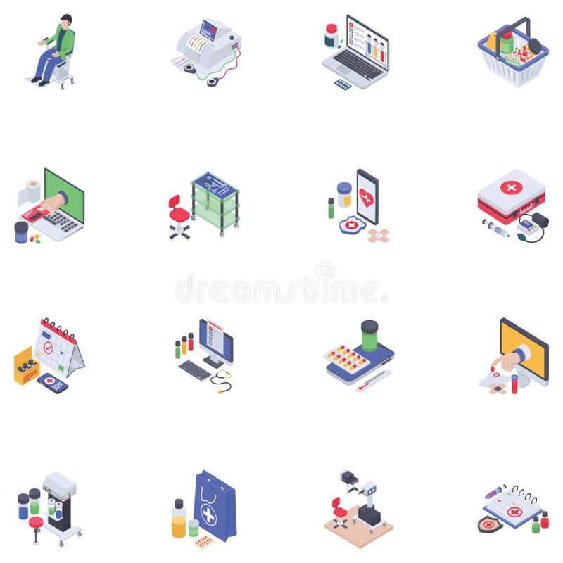 Icone isometriche mediche illustrazione di stock