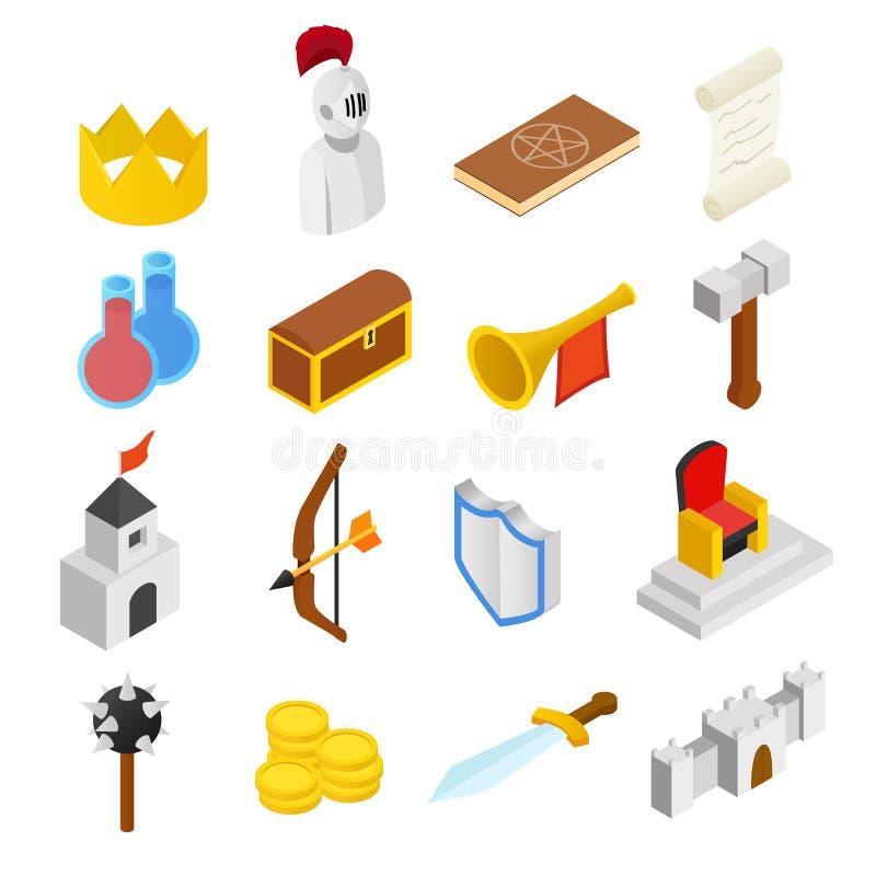 Icone isometriche medievali 3d messe illustrazione di stock