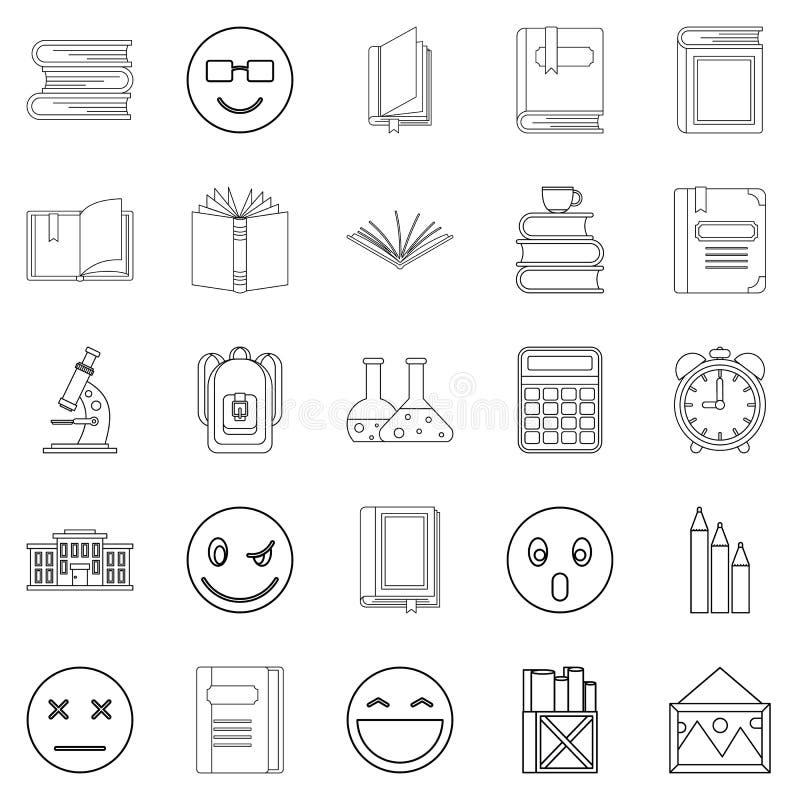 Icone istruite messe, stile della persona del profilo illustrazione vettoriale
