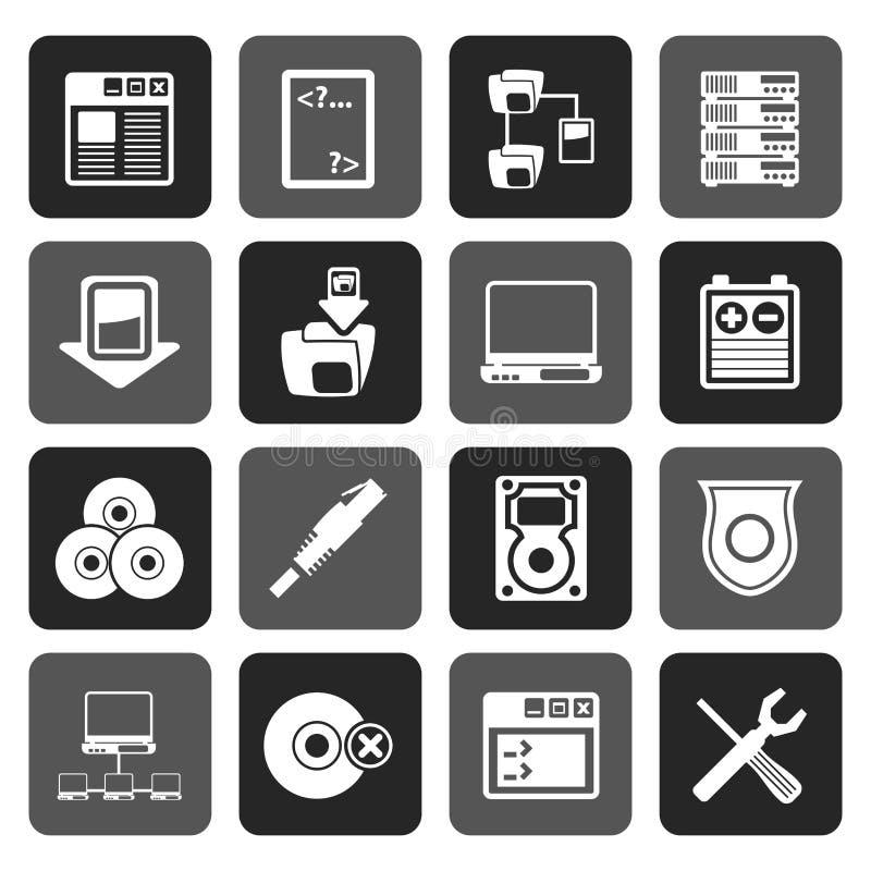 Icone lato server del computer della siluetta illustrazione di stock