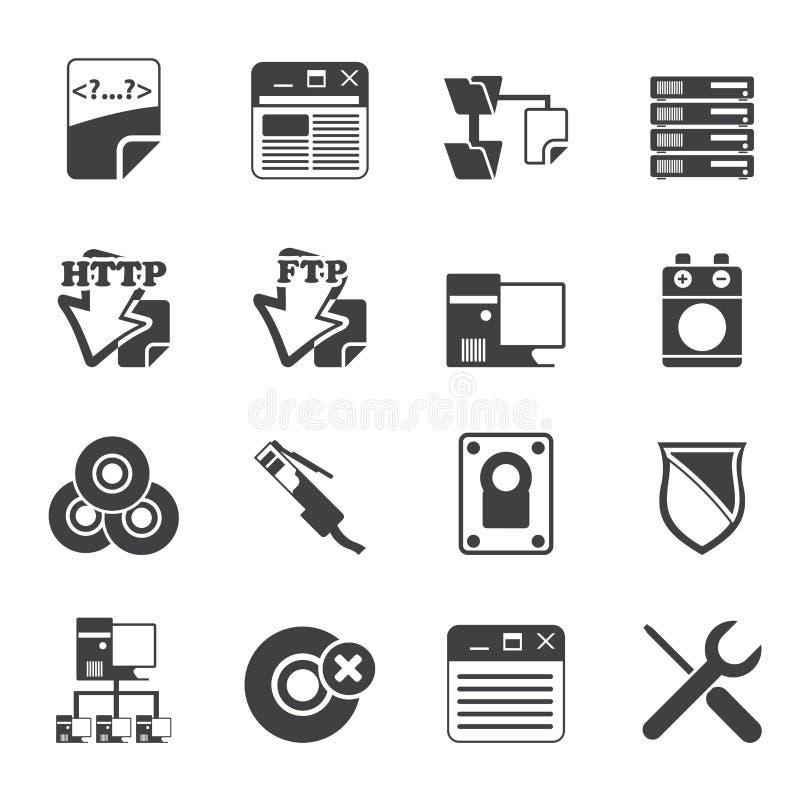 Icone lato server del computer della siluetta illustrazione vettoriale
