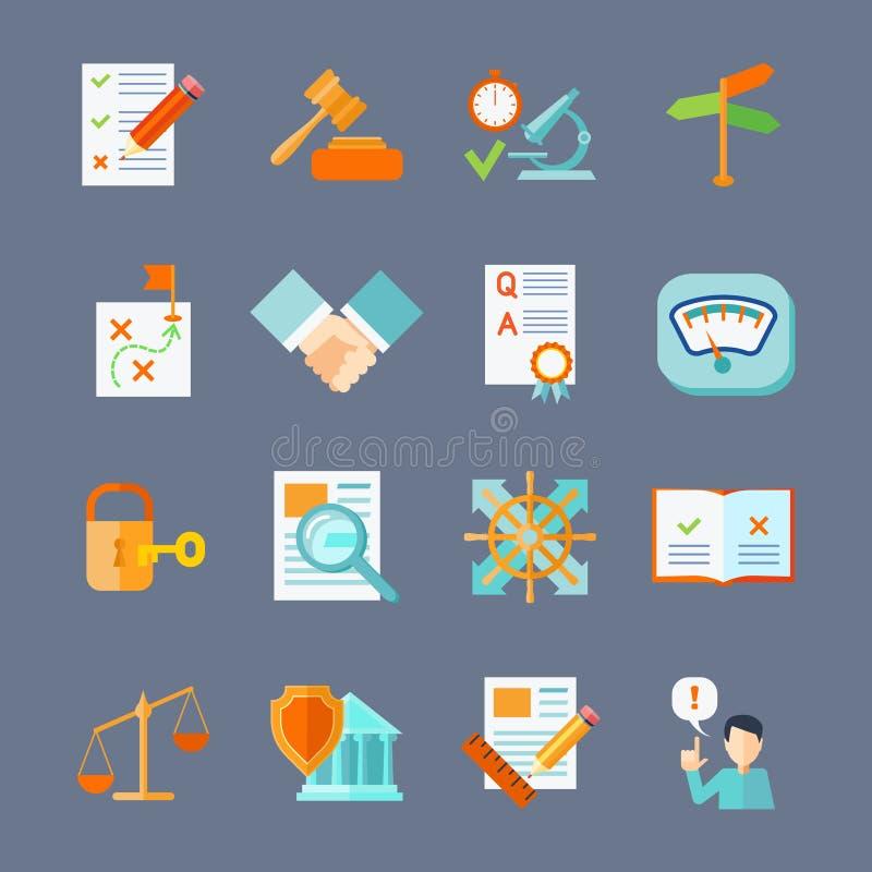 Icone legali di conformità messe illustrazione di stock