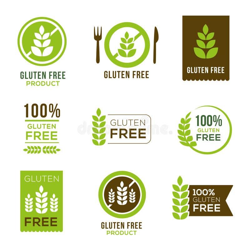 Icone libere del glutine - distintivi royalty illustrazione gratis