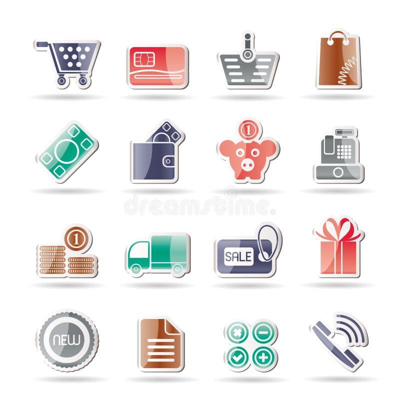 Icone in linea del negozio illustrazione di stock
