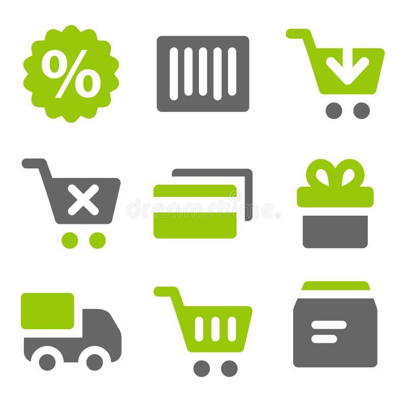 Icone in linea di Web di acquisto, icone solide grige verdi illustrazione vettoriale