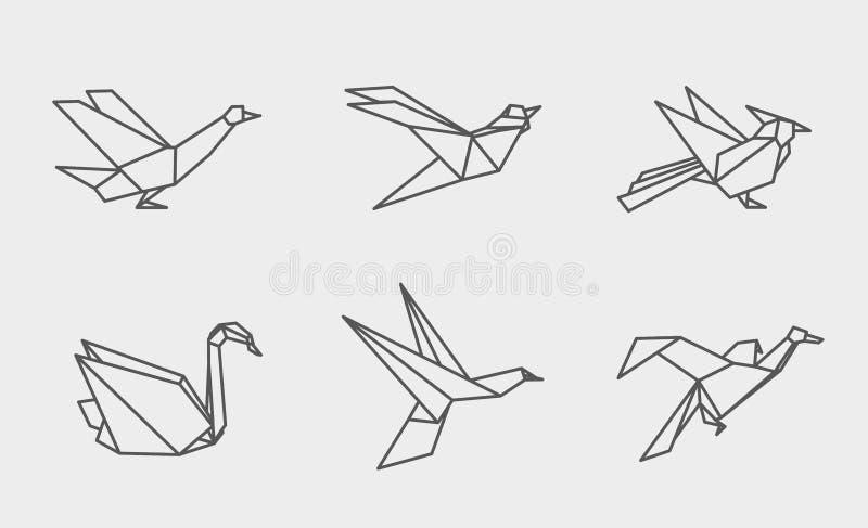 Icone lineari degli uccelli di origami illustrazione vettoriale
