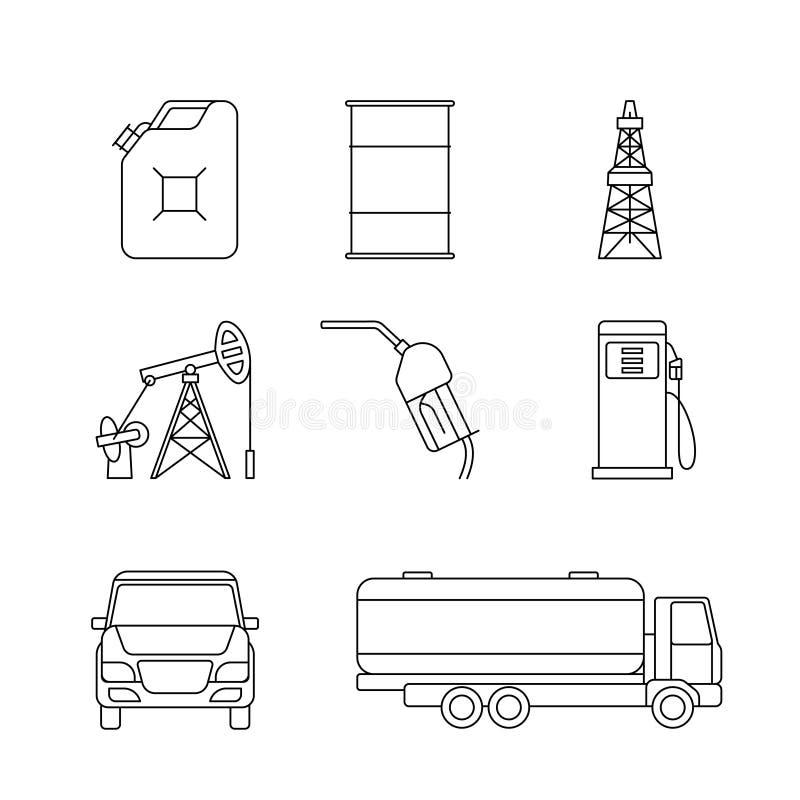 Icone lineari dell'olio royalty illustrazione gratis