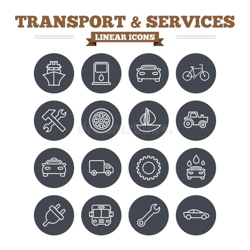 Icone lineari di servizi e di trasporto messe sottile illustrazione di stock