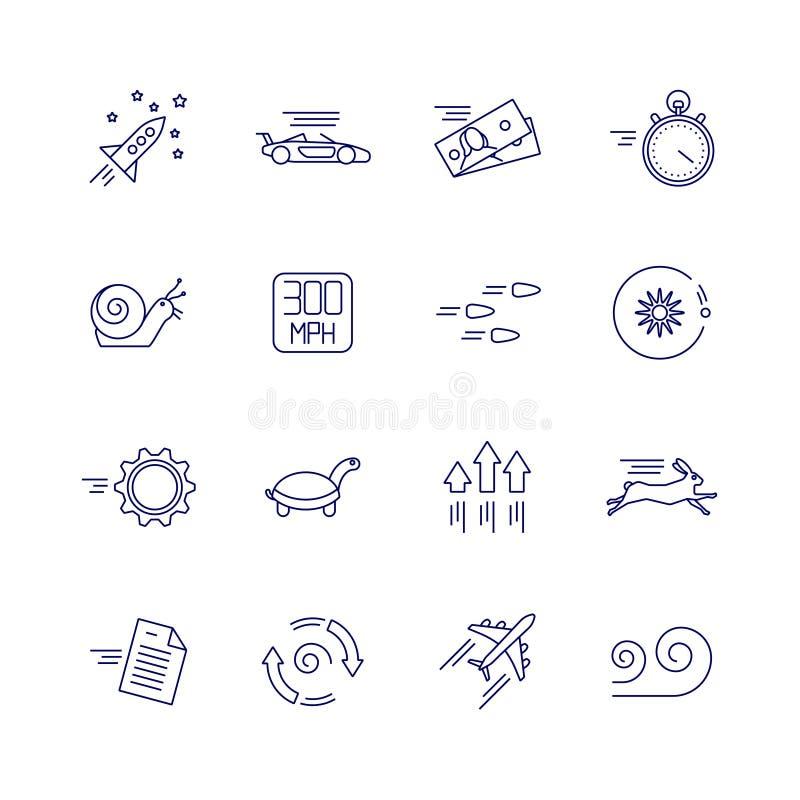 Icone lineari di velocità e di moto Segni lenti e veloci di vettore illustrazione vettoriale