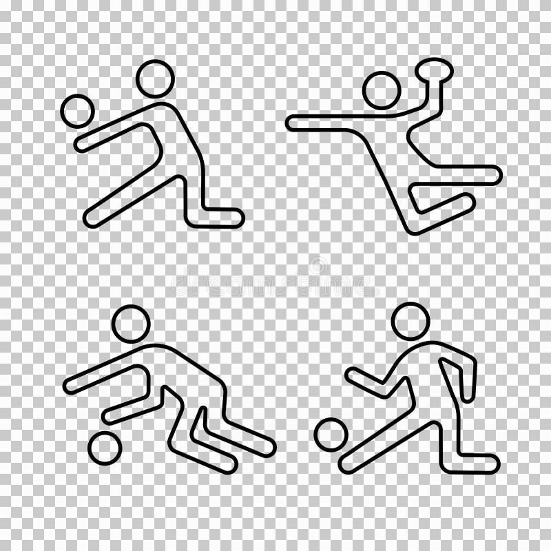 Icone lineari insieme, logo delle partite a baseball, siluetta della persona dell'atleta di forma, emblema dello stampino, linea  illustrazione di stock