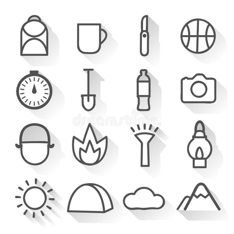 Icone lineari monocromatiche di campeggio messe illustrazione di stock