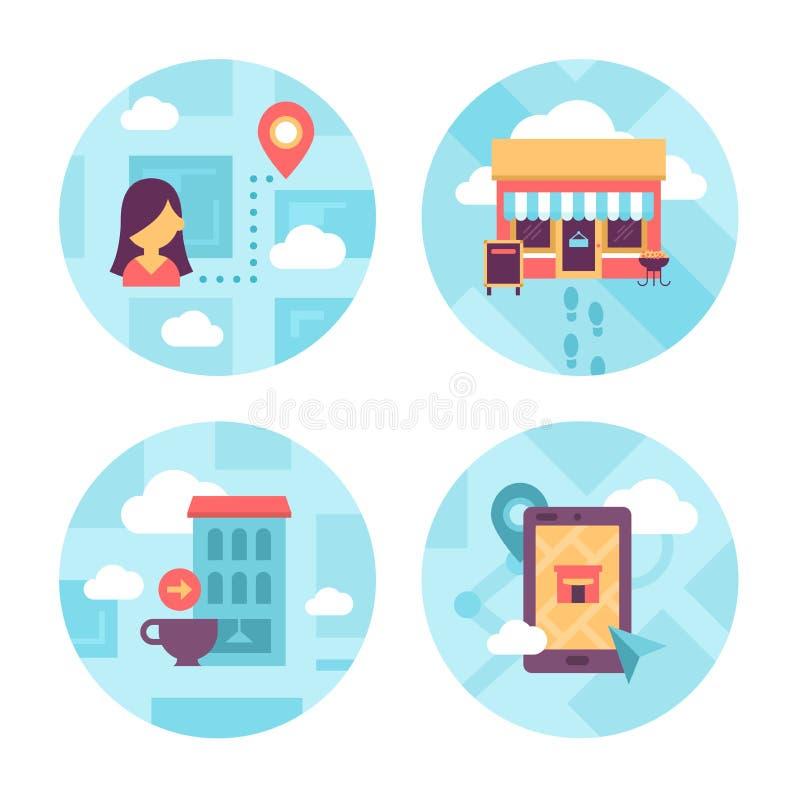 Icone locali di navigazione locale royalty illustrazione gratis