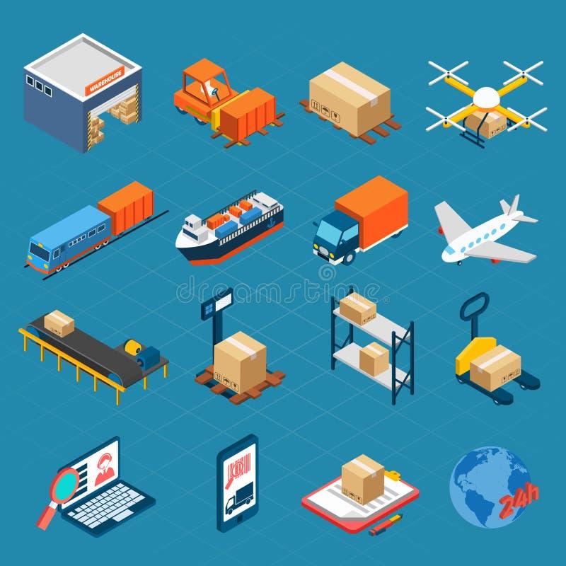 Icone logistiche isometriche illustrazione di stock