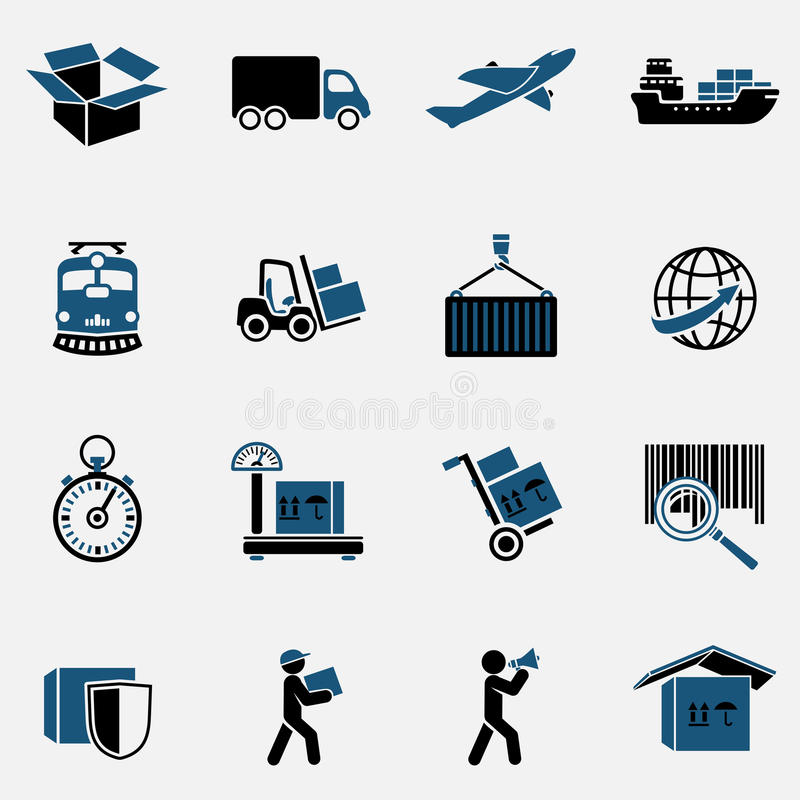 Icone logistiche messe illustrazione di stock
